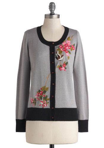 Naturally Charming Cardigan by Nick & Mo - Sheer, Knit, Mid-length, Grey, Black, Solid, Embroidery, Work, Long Sleeve, Better, Multi, Buttons, Folk Art, Grey, Long Sleeve