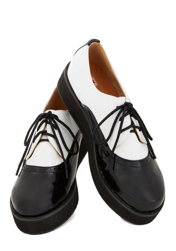 Dapper Dancer Flatform by Kling - Low, Black, White, Menswear Inspired, Better, Lace Up, Solid, Rockabilly, Colorblocking, Faux Leather