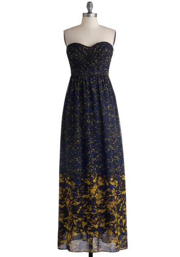 Inaugural Exhibition Dress - Chiffon, Woven, Long, Blue, Yellow, Black, Print, Party, Maxi, Strapless, Better, Sweetheart, Pleats