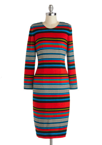 Interview Ace Dress by Bettie Page - Long, Knit, Red, Green, Blue, Black, White, Stripes, Casual, Long Sleeve, Better, Scoop, Multi, Work, Sheath / Shift, Fall, Winter