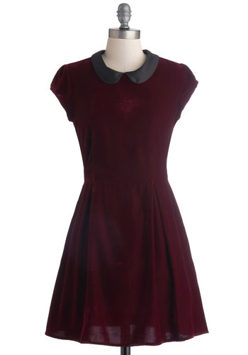Poise Will Be Poise Dress - Mid-length, Red, Black, Solid, Peter Pan Collar, Party, A-line, Cap Sleeves, Better, Collared, 90s, Winter