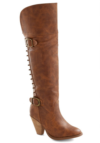 Something to Talk About Boot - Solid, Buckles, Studs, Better, Chunky heel, Mid, Faux Leather, Brown
