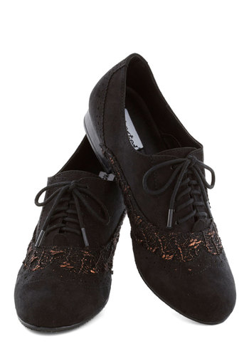 Ever Tinseled Flat - Black, Lace, Menswear Inspired, Good, Lace Up, Low, Bronze, Solid, Casual