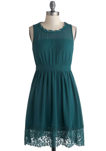 Teal Me a Story Dress - Blue, Solid, Lace, Daytime Party, A-line, Tank top (2 thick straps), Crew, Mid-length, Chiffon, Woven, 20s