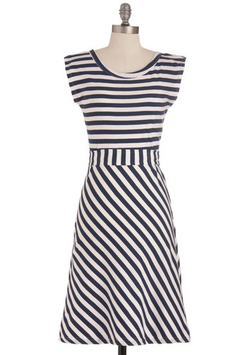Riviera Romance Dress in Navy - Blue, White, Stripes, Casual, Nautical, Summer, Spring, Eco-Friendly, Cotton, Best Seller, A-line, Cap Sleeves, Variation, Long, Sundress, Americana, Top Rated