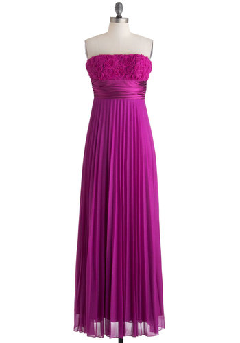 Awards Ceremony Darling Dress - Solid, Flower, Special Occasion, Maxi, Strapless, Pleats, Prom, Wedding, Bridesmaid, Purple