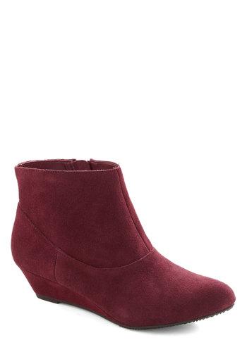 Fine Winery Bootie by BC Footwear - Red, Solid, Wedge, Low, Leather, Suede, Better