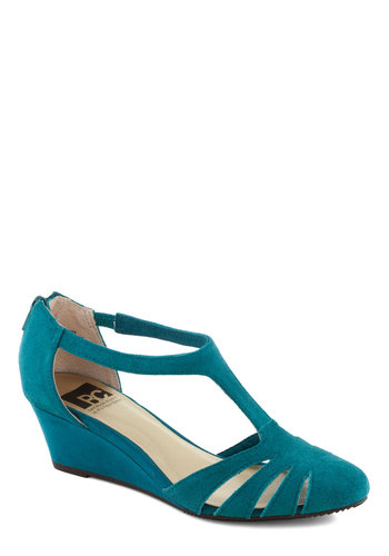 Why Wait? Wedge by BC Shoes - Blue, Solid, Cutout, Wedge, Mid, Leather, Suede, Better, Daytime Party, T-Strap