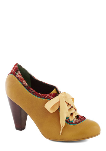 The Estate of Things Heel in Caramel by Poetic License - Yellow, Multi, Solid, Plaid, Scallops, Trim, Mid, Leather, Best, Party, Work, Vintage Inspired, 20s, 30s, 40s, Lace Up, Variation, Folk Art
