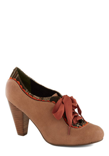 The Estate of Things Heel in Chai by Poetic License - Tan, Multi, Solid, Plaid, Scallops, Trim, Mid, Leather, Best, Party, Work, Vintage Inspired, 20s, 30s, 40s, Lace Up, Variation, Folk Art