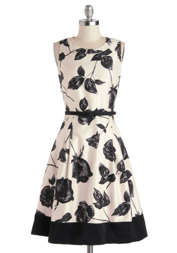 Take the Stage Dress - Woven, Black, Floral, Exposed zipper, Pockets, Belted, A-line, Sleeveless, Better, Scoop, Cream, Special Occasion