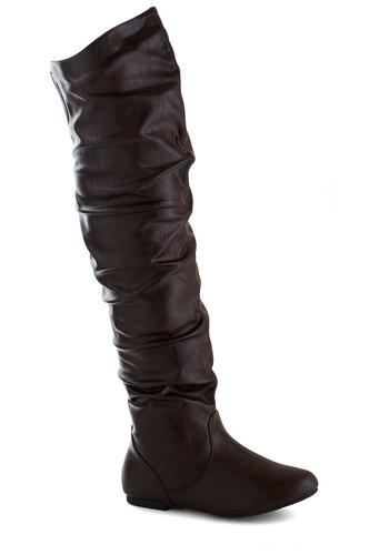 Walking in Williamsburg Boot - Flat, Faux Leather, Brown, Solid, Good, Ruching, Over the Knee