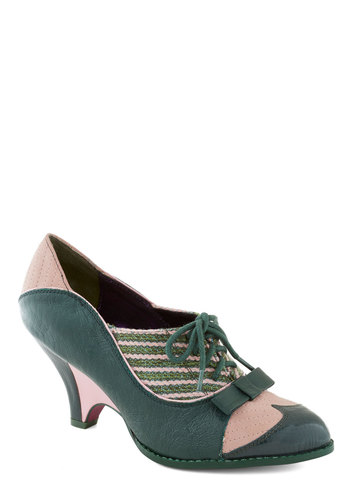 Turnstile Maven Heel in Green and Rose by Poetic License - Green, Pink, Solid, Stripes, Bows, Knitted, Mid, Leather, Best, Party, Work, Vintage Inspired, 30s, 40s, Lace Up, Variation