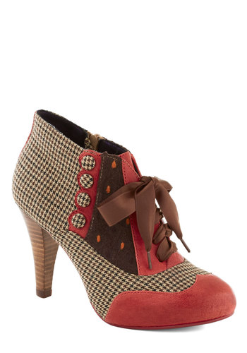 Mix and Match Heel by Poetic License - Houndstooth, Print, Buttons, Scallops, High, Best, Leather, Multi, Red, Brown, Tan / Cream, Party, Work, Vintage Inspired, 20s, 30s, 40s, Variation, Folk Art