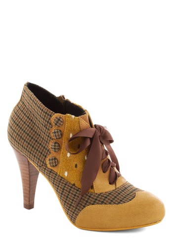 Mix and Match Heel in Yellow by Poetic License - Yellow, Multi, Houndstooth, Print, Buttons, Scallops, High, Best, Brown, Party, Work, Vintage Inspired, 20s, 30s, 40s, Variation, Folk Art