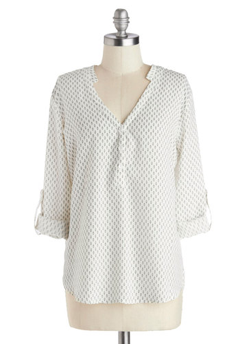 Business As Casual Top - White, Long Sleeve, Good, Woven, Mid-length, Black, Print, Buttons, Work, Casual