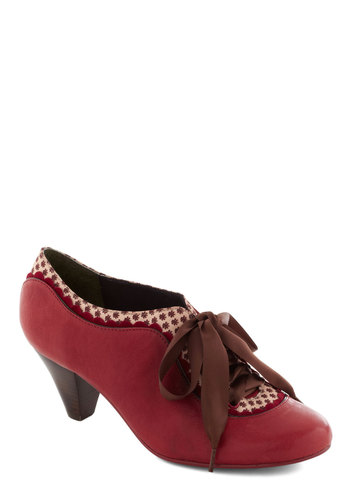 Model Home Heel in Red by Poetic License - Red, Multi, Solid, Print, Scallops, Trim, Vintage Inspired, 20s, 30s, Leather, Mid, Best, Work, 40s, Lace Up, Variation, Folk Art
