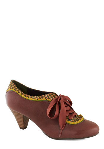Model Home Heel by Poetic License - Brown, Multi, Solid, Print, Scallops, Trim, Vintage Inspired, 20s, 30s, Mid, Leather, Best, Work, 40s, Lace Up, Variation, Folk Art