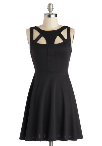 Uniquely Yours Dress - Short, Knit, Black, Solid, Cutout, Party, A-line, Sleeveless, Good, LBD