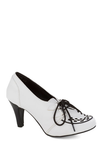 It Zoots You Heel - White, Black, Menswear Inspired, Mid, Lace Up, Faux Leather, Good, Solid, Trim, Work, Rockabilly