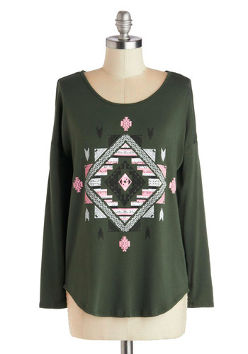 Good to Great Plains Tee - Green, Pink, Long Sleeve, Better, Mid-length, Jersey, Knit, White, Print, Casual, Scoop, Green, Long Sleeve