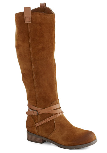 Beginner's Luxe Boot by BC Shoes - Tan, Solid, Braided, Low, Leather, Suede, Best, Casual