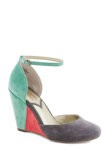 Fight Fire With Fire Wedge by Seychelles - Solid, Colorblocking, Wedge, High, Leather, Suede, Best, Multi, Grey, Coral, Mint, Party