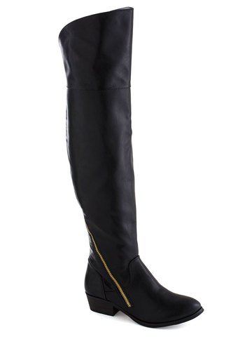 Manhattan Moxie Boot - Black, Solid, Exposed zipper, Steampunk, Low, Faux Leather, Better, Fall, Over the Knee