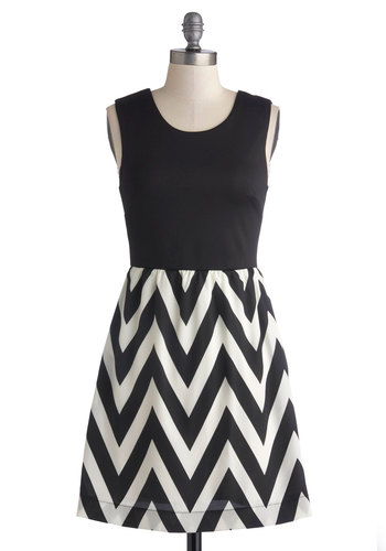 Moxie Is My Motto Dress - Knit, Woven, Black, White, Chevron, Pockets, Casual, A-line, Sleeveless, Good, Scoop, Exposed zipper, Mid-length