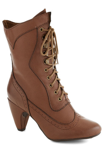 Chocolatiers of Joy Boot - Brown, Solid, Steampunk, Lace Up, Faux Leather, Mid, Better, French / Victorian, 20s