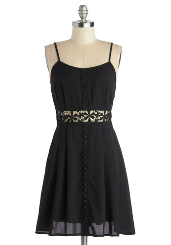 Intrepid Elegance Dress - Short, Woven, Black, Solid, Buttons, Cutout, Casual, A-line, Spaghetti Straps, Good, Crochet