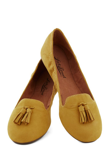 I Got Frills Flat by Lucky - Yellow, Solid, Tassles, Flat, Leather, Better, Work, Casual, Gifts Sale