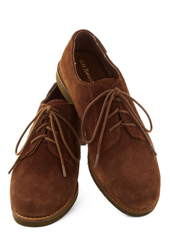 Walk and Talk Flat in Cinnamon by Bass - Solid, Menswear Inspired, Suede, Lace Up, Low, Leather, Better, Brown, Casual, Variation