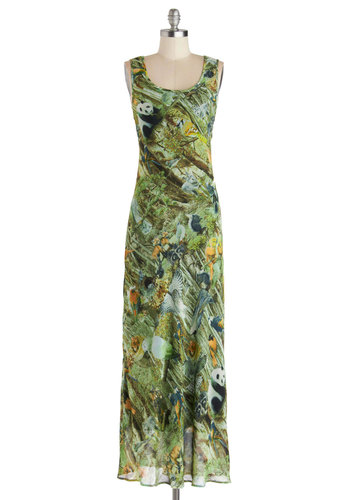 Pure Genus Dress - Green, Multi, Print with Animals, Casual, Maxi, Tank top (2 thick straps), Better, Scoop, Long, Chiffon, Woven
