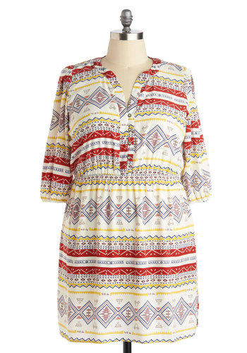 Igneous Rock and Roll Dress in Plus Size - Woven, Red, Yellow, Blue, Print, Buttons, Casual, A-line, 3/4 Sleeve, Good, Multi, White, Top Rated