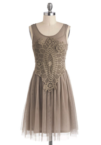 Bohemian Belle Dress in Taupe - Mid-length, Sheer, Tan, Solid, Crochet, Party, A-line, Tank top (2 thick straps), Better, Scoop, Variation, 20s