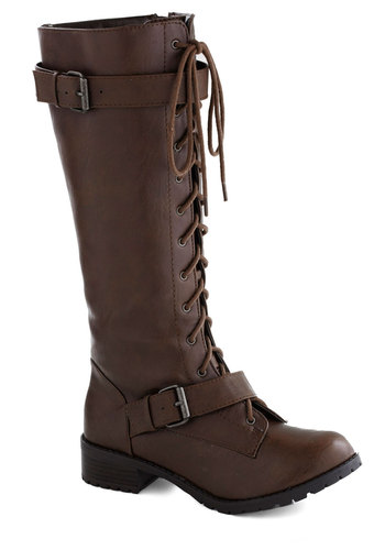 Gingerbread Genius Boot - Brown, Buckles, Steampunk, Low, Good, Lace Up, Faux Leather, Solid, Casual, Fall