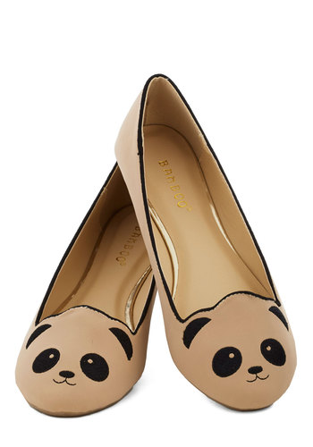 Stroke of Genus Flat in Beige - Tan, Black, Print with Animals, Casual, Kawaii, Flat, Good, Quirky, Top Rated, Gifts Sale