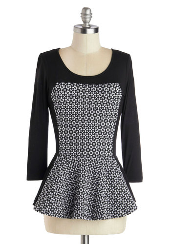 Share Your Assurance Top - Mid-length, Knit, Black, White, Work, Peplum, Better, Print, 3/4 Sleeve, Scoop, Grey, 3/4 Sleeve
