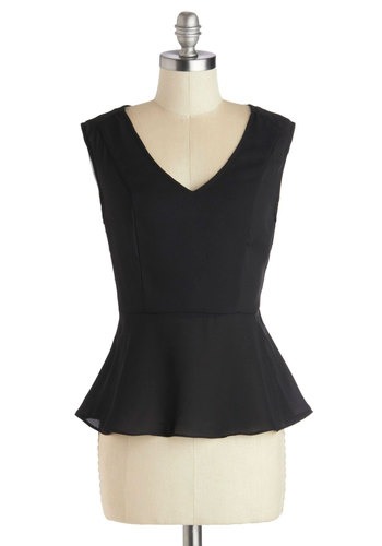 Finesse First Top - Sheer, Woven, Short, Black, Solid, Lace, Work, Peplum, Better, Party, Sleeveless, V Neck, Black, Sleeveless