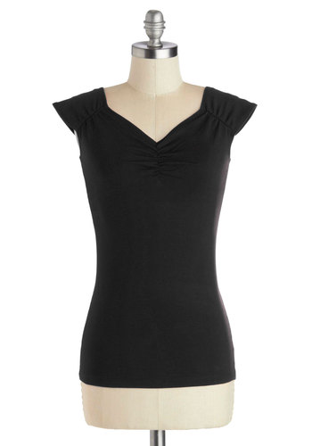 All Cat Eyes On You Top in Black - Knit, Black, Solid, Cap Sleeves, Good, Variation, Ruching, Basic, Mid-length, Black, Short Sleeve