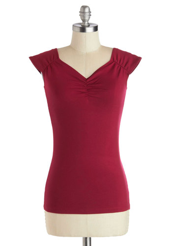 All Cat Eyes On You Top in Wine - Knit, Red, Solid, Cap Sleeves, Good, Variation, Mid-length, Red, Short Sleeve, Valentine's