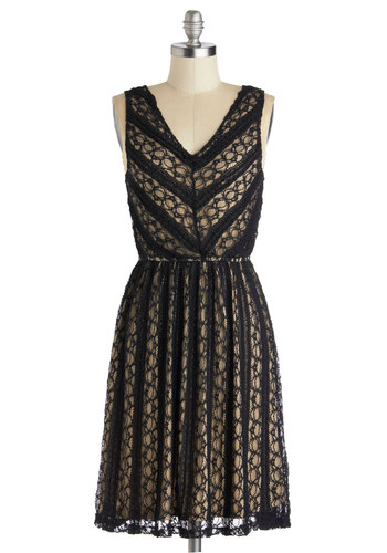 Downstage Darling Dress - Black, Tan / Cream, Lace, Party, A-line, V Neck, Mid-length, Knit, Vintage Inspired, Tank top (2 thick straps), 20s