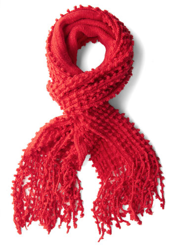 Fifty Yard Fine Scarf in Red - Red, Solid, Fringed, Fall, Winter, Variation, Woven, Holiday