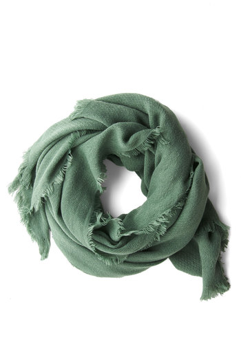 Come Trail Away Scarf in Pine - Green, Solid, Fringed, Casual, Variation, Woven, Folk Art