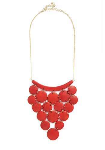 How About Disc? Necklace by Mata Traders - Red, Gold, Solid, Tiered, Statement, Better, Eco-Friendly