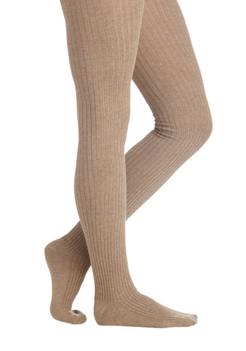 Cover Your Basics Tights in Beige - Tan, Solid, Better, Variation, Basic, Knitted, Knit, Fall, Winter, Scholastic/Collegiate