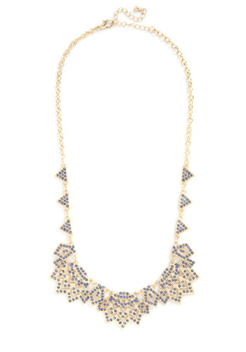 Reach the Zenith Necklace - Blue, Gold, Solid, Rhinestones, Statement, Better, Party, Cocktail, 20s, Gold