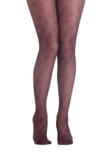 Go Fig-ure Tights - Red, Solid, Better, Sheer, Knit, Knitted