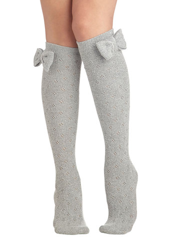 Baking Date Socks in Pepper - Grey, Solid, Bows, Eyelet, Good, Variation, Scholastic/Collegiate, Knit